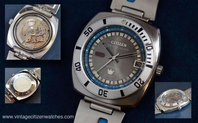 crystal seven vintage citizen diver