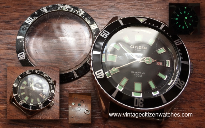vintage citizen 150m diver crystal and bezel insert